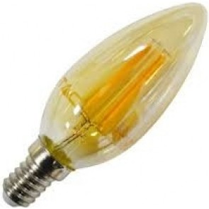 LED Bulb - 4W Filament Patent E14 Candle Amber Cover 2700K